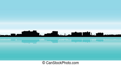 Fort Myers, Florida - Skyline silhouette of the city of Fort...