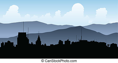 Skyline silhouette of the city of Mendoza, Argentina.