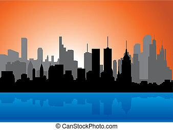 Skyline - Skyline. Silhouette. Vector illustration for you...