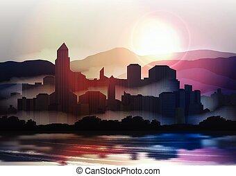 skyline, stad, ondergaande zon