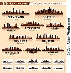 skyline, stad, set., tien, steden, van, usa, #2