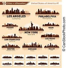 skyline, stadt, set., 10, städte, von, usa, #1