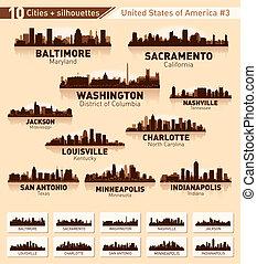 skyline, stadt, set., 10, städte, von, usa, #3