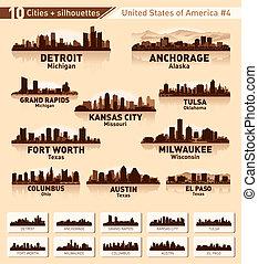 skyline, stadt, set., 10, städte, von, usa, #4