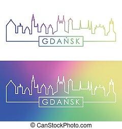 skyline., style., bunte, linear, gdansk