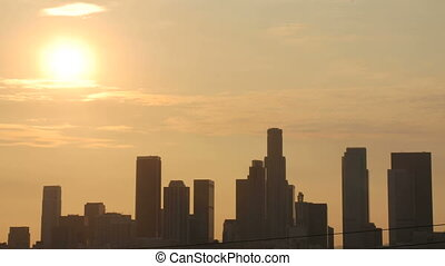 This is a timelapse sunset over downtown Los Angeles
