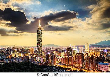 skyline., taiwan, taipei, večer