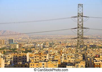 Skyline Tehran electric post Iran