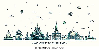 Skyline Thailand vector illustration linear style