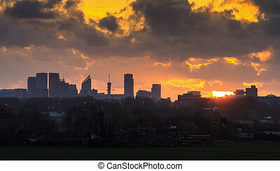 Beautiful dramatic skyline of The Hague in the Netherlands at sunset