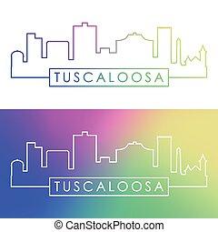 skyline., tuscaloosa, bunte, linear, style.