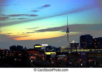 skyline, tv-tower, pôr do sol, berlim