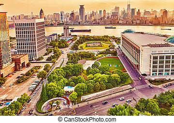 skyline, udsigter, af, bund, søside, på, pudong, nye, area-, den, firma, egn, i, den, shanghai., shanghai, distrikt, ind, mest, dynamik, byen, i, china.
