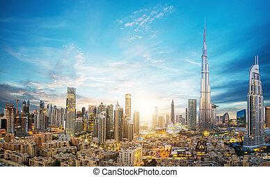 skyline, udsigter, emirates, foren, fremtidsprægede, araber, forbløffende, dubai, panoramiske
