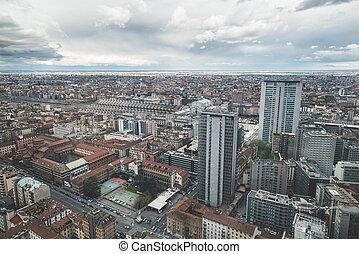 skyline, urban, byen, udsigt højeste