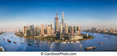 skyline urbano, moderno, sciangai, grattacieli