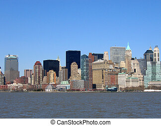 skyline, van, gebouwen
