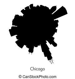 skyline, vector, chicago, circulaire