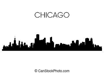 skyline, vector, chicago, illustratie, silhouette.