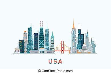skyline., vector, estados unidos de américa, ilustración