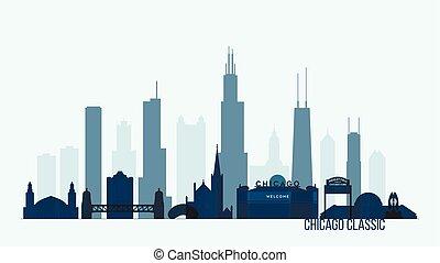 skyline, vector, gebouwen, illustratie, chicago