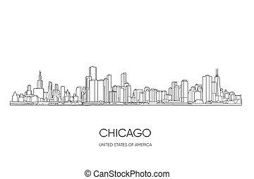 skyline., vector, illustratie, chicago