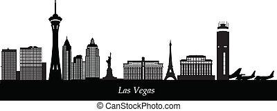 skyline, vegad, luchthaven, las