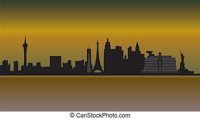 skyline, vegas, ørken, las