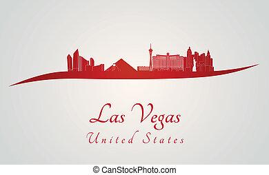 skyline, vegas, rød, las