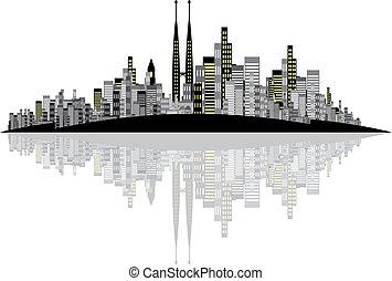 skyline, vektor, baggrund