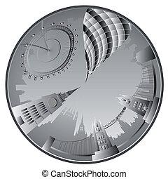 skyline, vektor, london