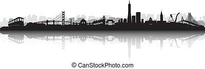 skyline, vektor, silhouette, san francisco