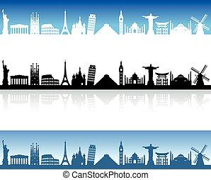 skyline, vektor, welt, denkmäler