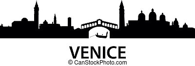 Skyline Venice - detailed vector silhouette of Venice, Italy