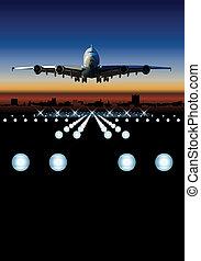 skyline, verkehrsflugzeug, landung