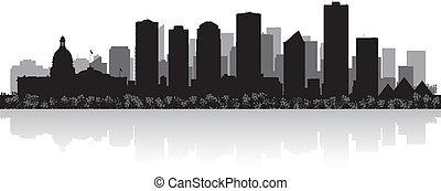 skyline, vetorial, cidade, edmonton, canadá, silueta