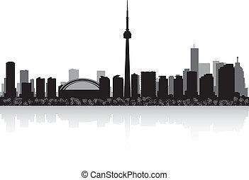 skyline, vetorial, cidade, toronto, canadá, silueta