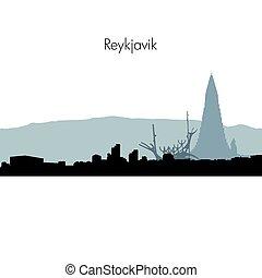 skyline, vetorial, reykjavik, silhouette.
