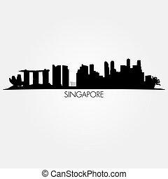 skyline., vettore, silhouette, singapore, nero
