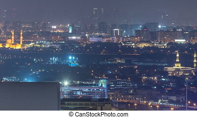 Skyline view of Deira and Sharjah districts in Dubai night...