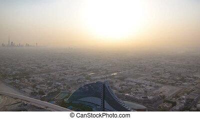 Skyline view of Dubai after sunrise, UAE. Timelapse