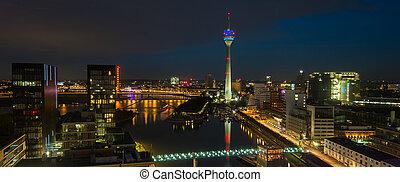Skyline view of Dusseldorf at night blue hour