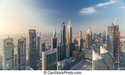 Skyline view of the buildings of Sheikh Zayed Road and DIFC aerial timelapse in Dubai, UAE.