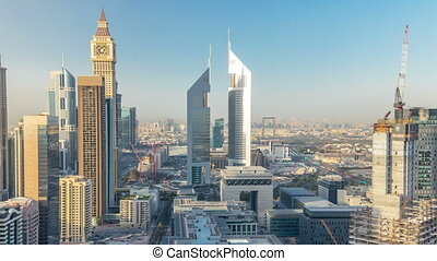 Skyline view of the buildings of Sheikh Zayed Road and DIFC timelapse in Dubai, UAE.
