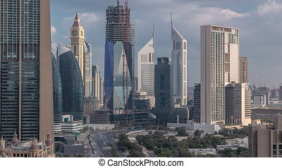 Skyline view of the buildings of Sheikh Zayed Road and DIFC...
