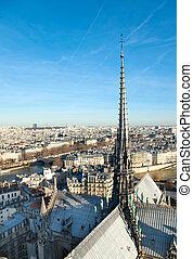 skyline, von, paris, von, notre dame