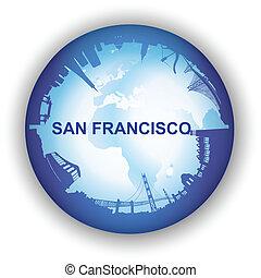 skyline, wereldbol, francisco, san