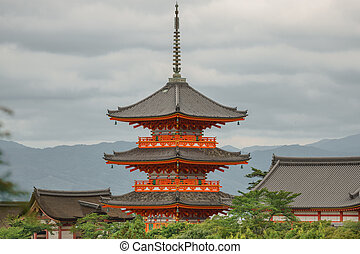 Japanese pagoda over the trees