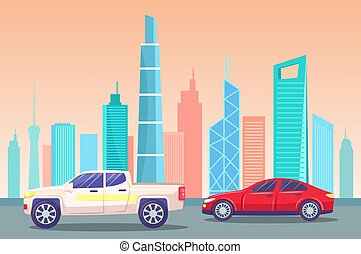 Skyline with Landmarks and Skyscrapers with Cars