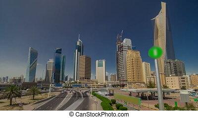Skyline with Skyscrapers timelapse hyperlapse in Kuwait City...